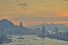 Сумерк гавани Виктории Гонконга Стоковое Изображение