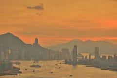 Сумерк гавани Виктории Гонконга Стоковое Изображение RF