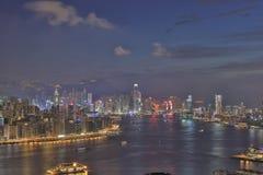 Сумерк гавани Виктории Гонконга Стоковые Фото