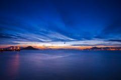 Сумерк гавани Виктории западное, Гонконг Стоковое Изображение RF