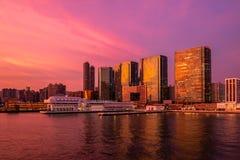 Сумерк города на портовом районе Стоковое Фото