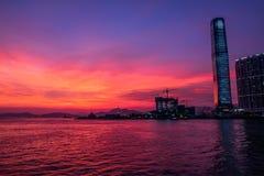 Сумерк города на портовом районе Стоковое фото RF