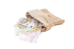 Сумка денег с евро Стоковые Изображения