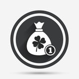 Сумка денег с знаком клевера Символ St. Patrick Стоковое фото RF