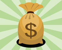 Сумка денег с знаком доллара Стоковое Изображение