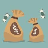 Сумка денег с символом валюты Соединенных Штатов Америки Стоковые Фотографии RF