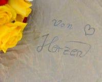 Сумка желтых роз бумажная Стоковое Фото