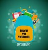 Сумка, значок рюкзака с аксессуарами школы также вектор иллюстрации притяжки corel Стоковое Изображение RF