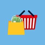 Сумка корзины для товаров иллюстрация штока