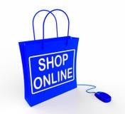 Сумка магазина онлайн показывает покупки и приобретение интернета иллюстрация штока