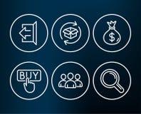 Сумка, приобретение и возвращение денег пакетируют значки Подпишите вне, знаки группы и исследования иллюстрация штока