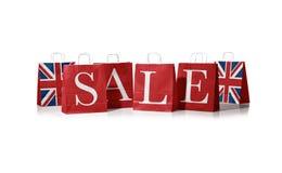 Сумка продаж Флаг Великобритании на хозяйственных сумках Стоковое Фото