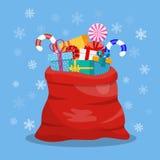 Сумка Санта Клауса красная, иллюстрация штока