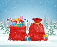 Сумка Санта Клауса красная, бесплатная иллюстрация
