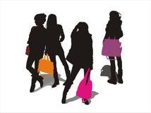 сумка снесенная девушок Стоковое Фото