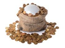 Сумка с пузырем и монетками Стоковое Фото
