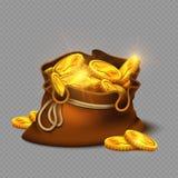 Сумка шаржа большая старая с золотыми монетками на прозрачной предпосылке иллюстрация штока