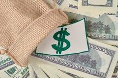 Сумка шерстей с деньгами Стоковое Изображение RF