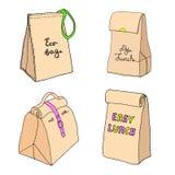 Сумка Eco, мой обед, ест ее все, легкий обед Собрание коробки Linch бесплатная иллюстрация