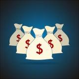 Сумки денег с предпосылкой знака доллара вектор Стоковое Изображение