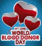 Сумки крови любят воздушный шар сформированный сердцем на оказывающий экономическую помощь день, иллюстрация вектора Стоковое фото RF