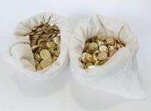 Сумки монеток на белой предпосылке Стоковое Изображение RF