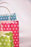 3 сумки покрашенной на белизне таблицы Стоковые Изображения