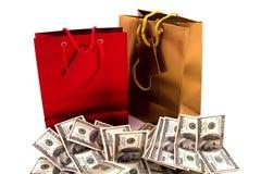 Сумки подарка с долларами Стоковая Фотография