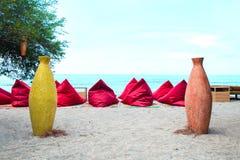 Сумки фасоли на пляже - изображении запаса Стоковые Изображения RF