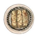 Сумма азиатской еды акварели тусклая, взгляд сверху Стоковые Изображения