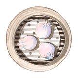 Сумма азиатской еды акварели тусклая, взгляд сверху Стоковые Изображения RF