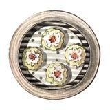 Сумма азиатской еды акварели тусклая, mai siew, взгляд сверху Стоковое фото RF