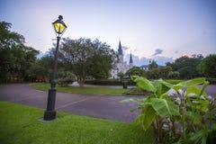 Сумрак в квадрате Джексона, Новом Орлеане Стоковое фото RF