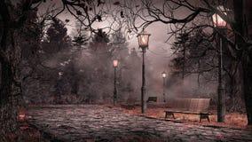 Сумрак в парке иллюстрация вектора