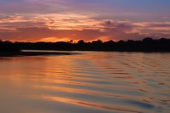 Сумрак в реке Стоковая Фотография