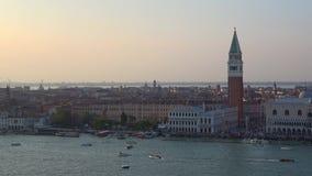 Сумрак в сентябре над Венецией Италия видеоматериал