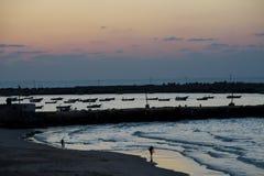 сумрак Газа пляжа стоковая фотография