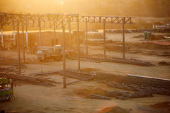 сумрак конструкции silhouettes заход солнца места Стоковые Фото
