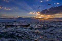 Сумрак над гаванью Thessaloniki Стоковое Изображение