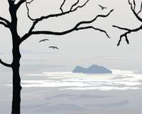 Сумрак над океаном иллюстрация штока