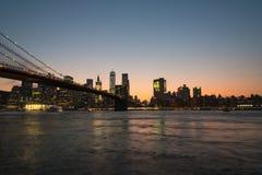 сумрак brooklyn моста стоковая фотография rf