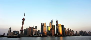 Сумрак Lujiazui Шанхай Китая Стоковое фото RF