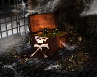 Сундук с сокровищами пирата хеллоуина, добыча Стоковое Фото