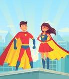 Супергерои Шуточные супергерой пар, человек шаржа и женщина в плащах красного цвета на крыше города Концепция вектора правосудия иллюстрация вектора