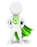 супергерой белых человеков 3d экологический Стоковая Фотография