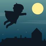 Супергерой в лунном свете Стоковые Изображения