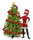 супергерой женщины 3D с рождественской елкой бесплатная иллюстрация