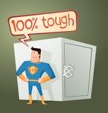 Супергерой защищая сейф Стоковые Фотографии RF