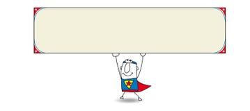 Супергерой и горизонтальное знамя Стоковое Изображение
