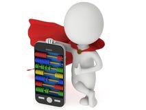 Супергерой около smartphone с абакусом Стоковая Фотография